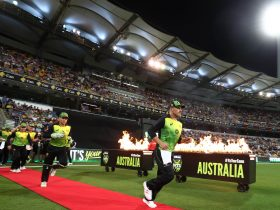 The Aussies coming on to the field at the Gillette T20 INTL