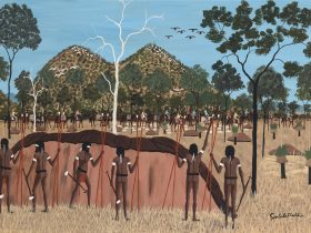Goobalathaldin Dick Roughsey Lardil people, Australia 1924-1985 Tribe on the move in the past, Cape