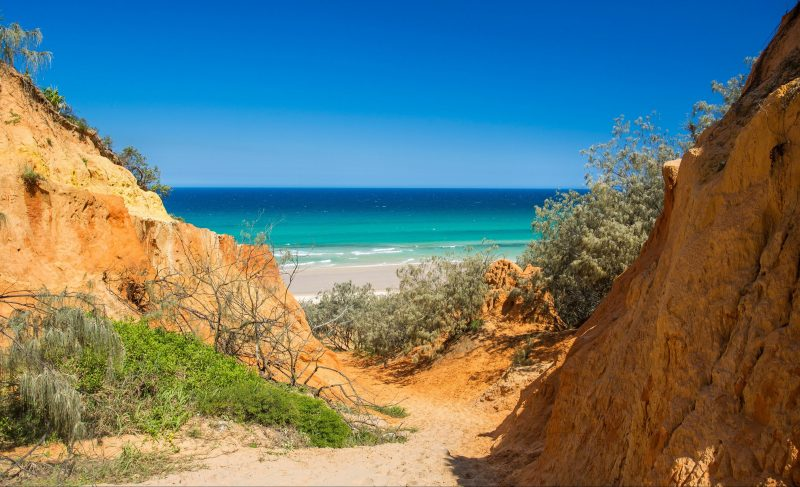 Overlooking Teewah Beach from Red Canyon on the Great Beach Drive