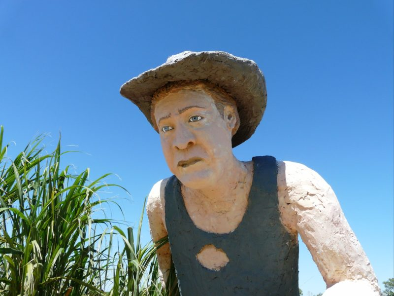 The Hand Cane Cutter Statue even has a hole in his Jackie Howe singlet!