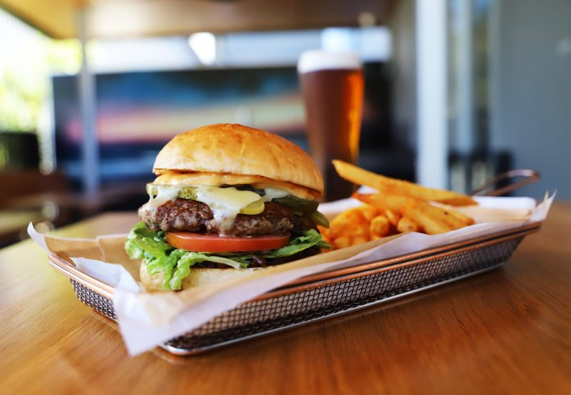 Heads of Noosa Beef Burgers with Chips and Beer