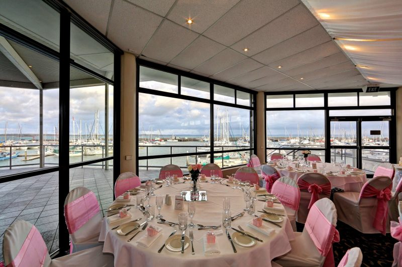 Hold your wedding ceremony on the Fraser Room deck overlooking the marina
