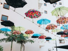 Umbrellas installation