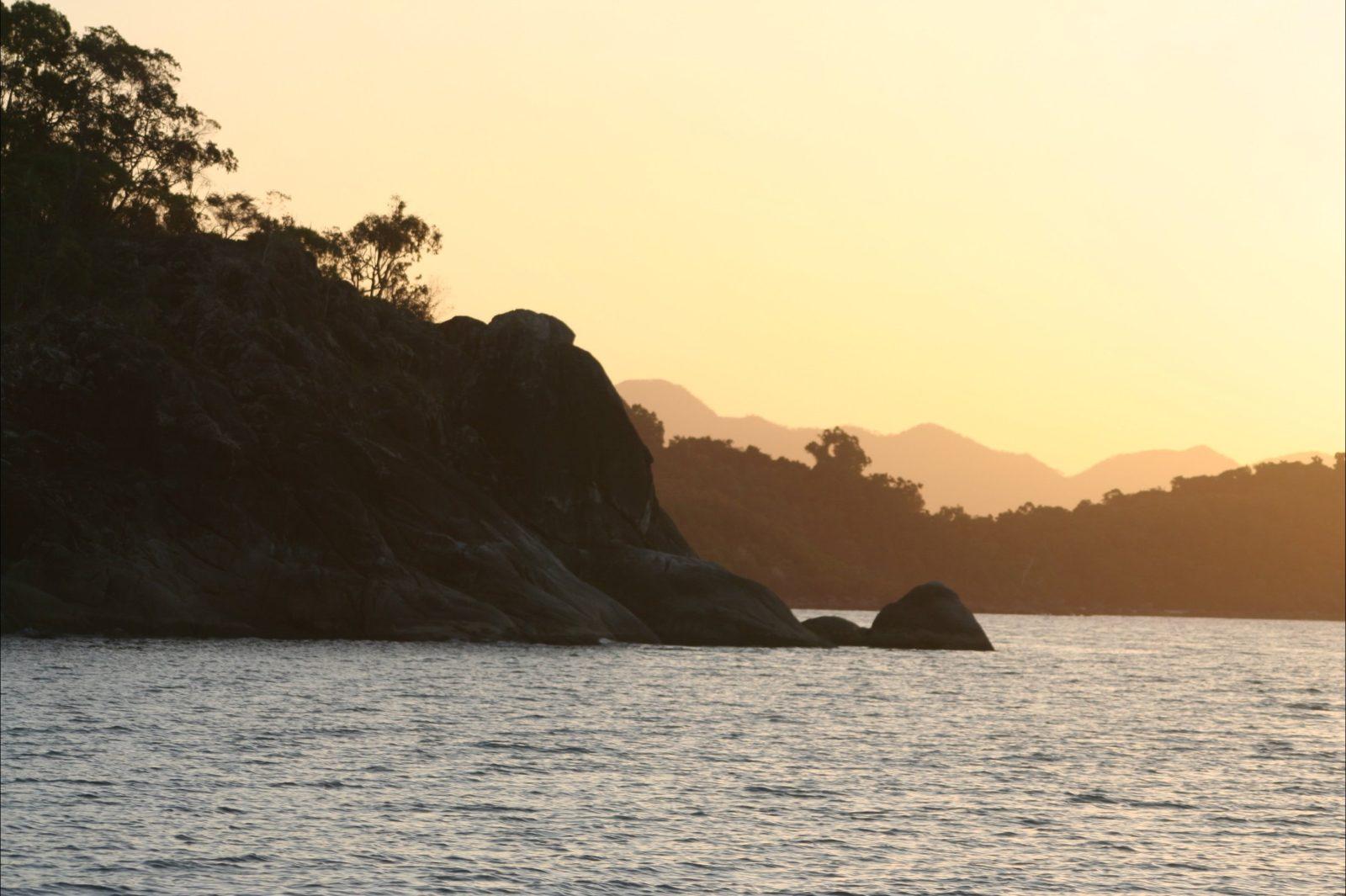 Hinchinbrook Island's coastline at sunset