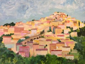 a painting of a hilltop village in France