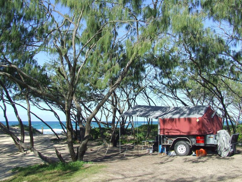 A red camper trailer is parked amongst the casuarinas behind the beach,