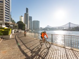 Cycling along Riverside, Brisbane