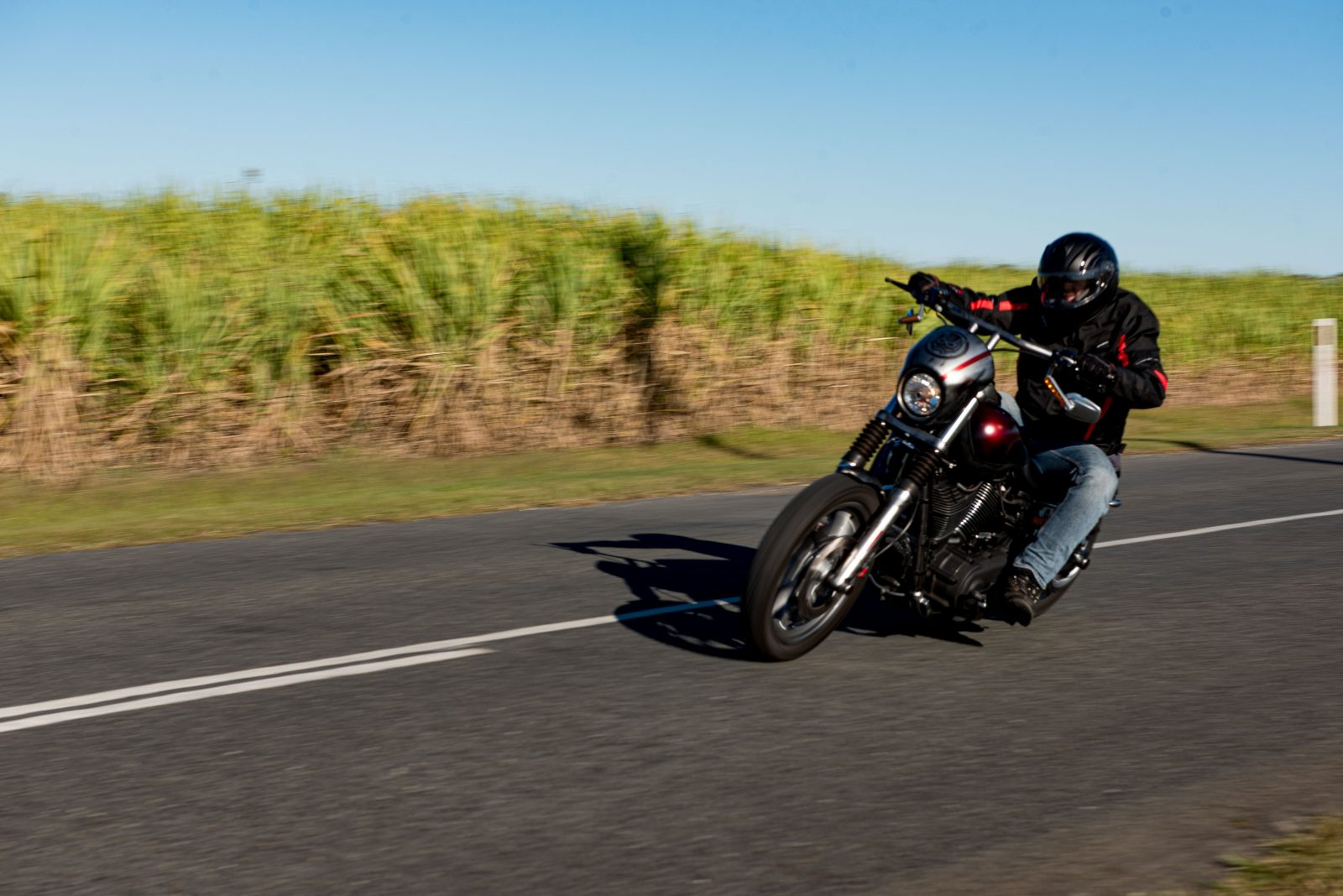 picture of lead rider heading along rural route