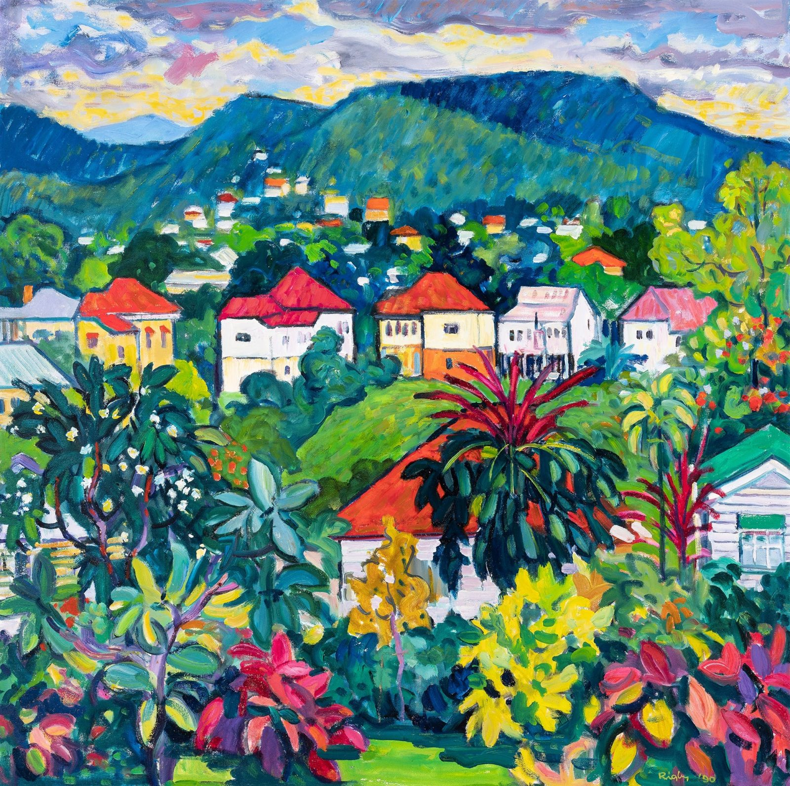 John Rigby, Western Suburbs (detail), c. 1990, oil on canvas board, photographed by Carl Warner.