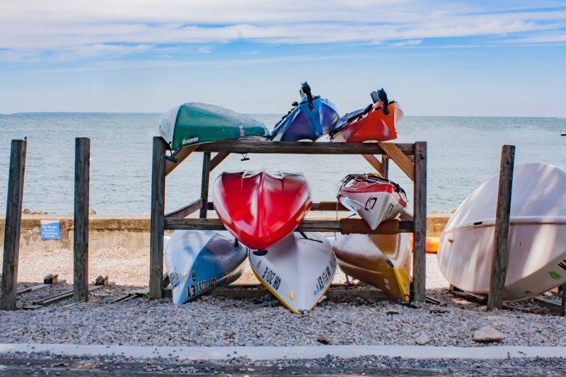 Kayaks in rack