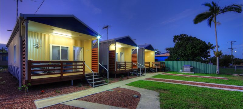 cabins set one street back from the waterfront