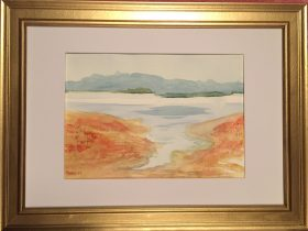 watercolour painting of Wivenhoe dam