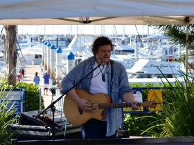 Local artists perform every Sunday 1-4pm on the lawn at the multi award winning Waterline Restaurant