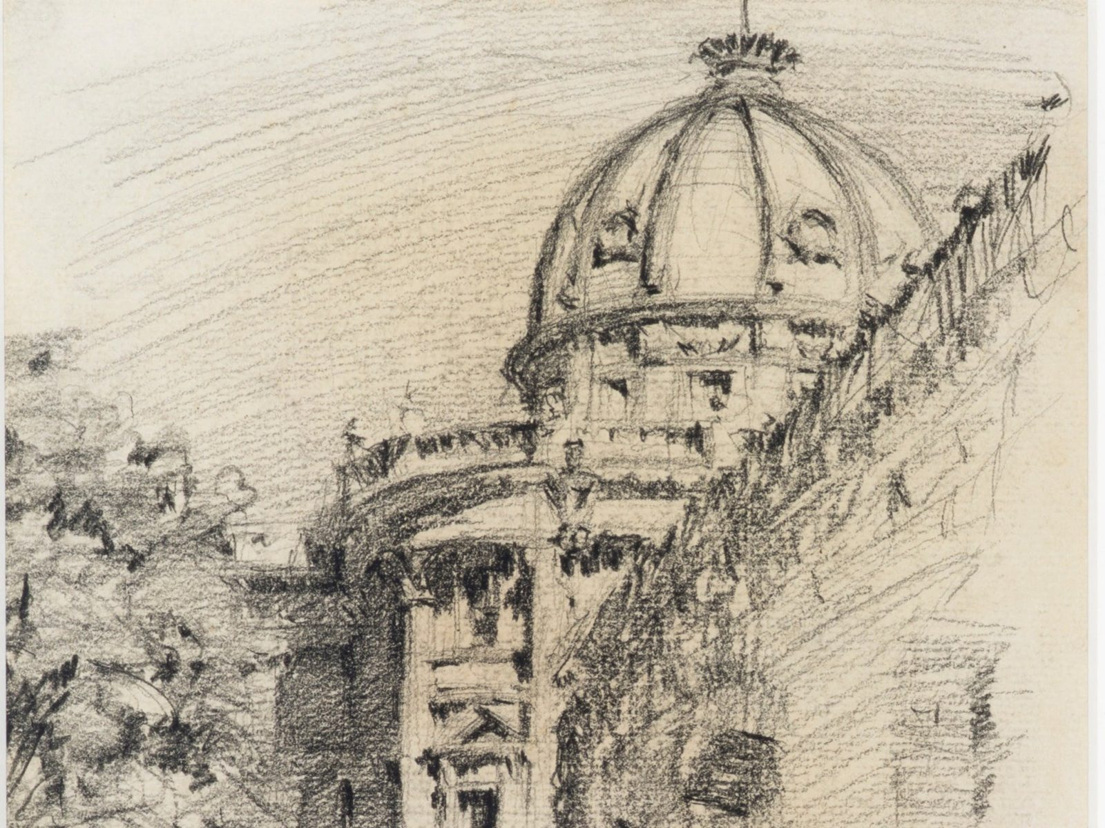 Customs House, 1914, pencil on paper