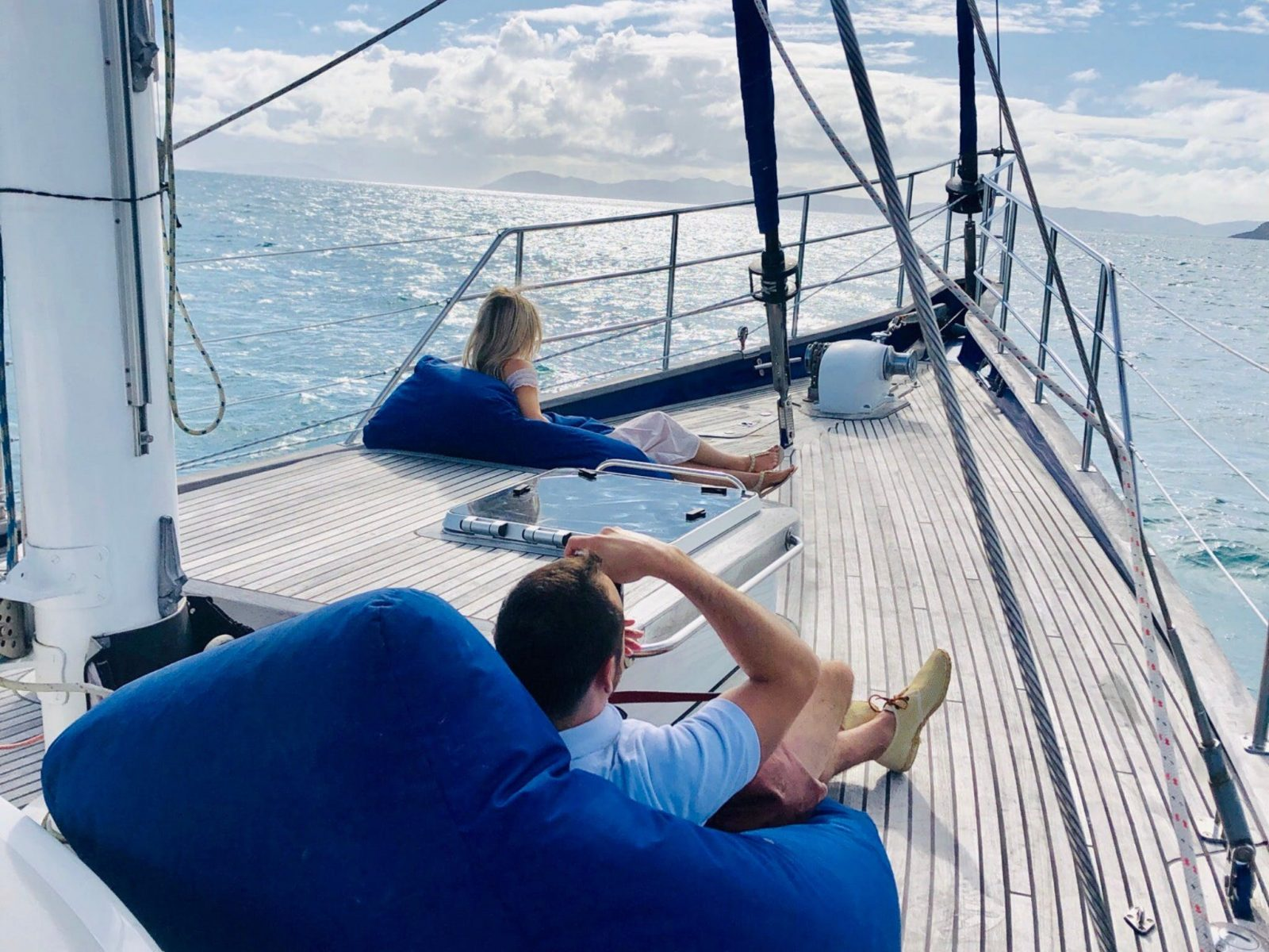 Relaxing on the luxurious sailing yacht at Whitsundays