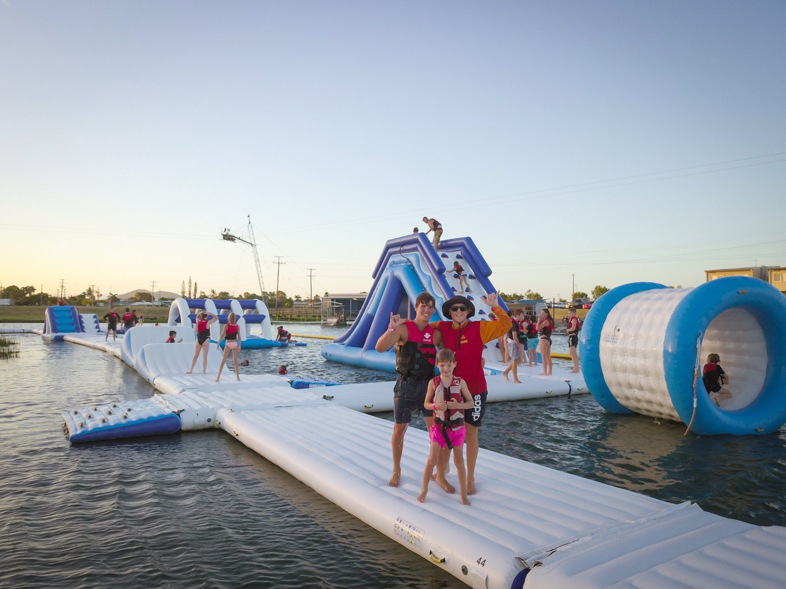 Photo of friends playing on the Mackay Aqua Park