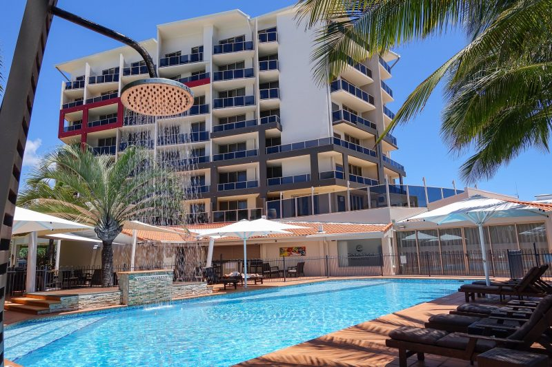 Hotel with the pool in the foreground