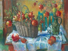 Margaret Olley / Pomegranates in a basket 1967 / Private Collection