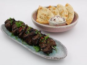 Lamb shish, Libanese flat bread, hummus, dips, Turkish cousine