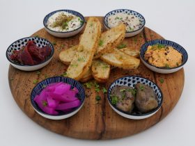 Turkish bread, hummus, sun-dried tomato, dips, eggplant, basturma, baba ghanoush, turnip
