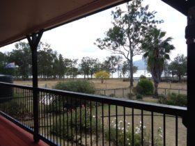 Millys verandah view over Lake Moogerah and Mt Edwards