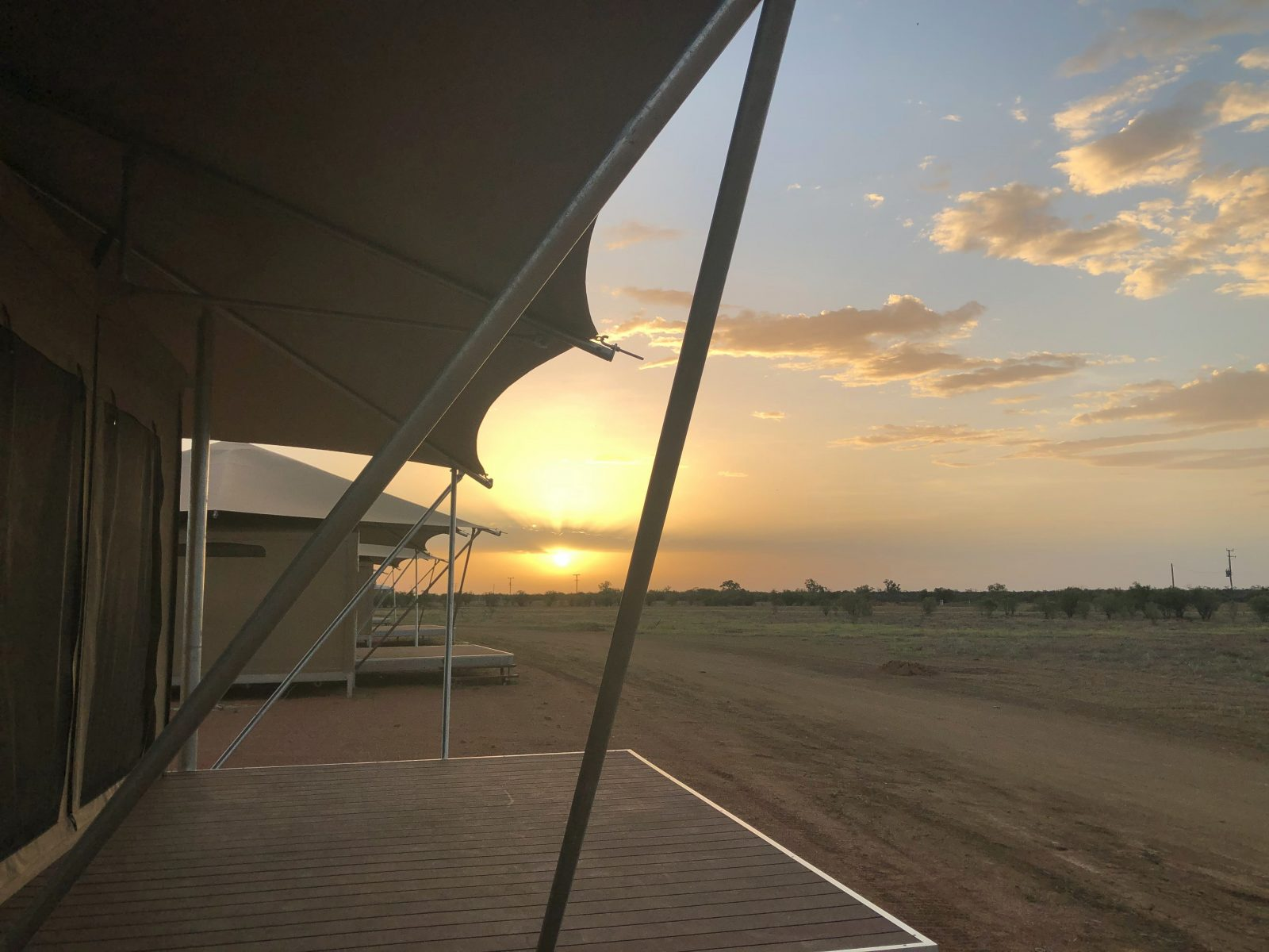 Mitchell Grass Retreat Outback Sunset, Luxury Glamping Tents,Longreach, Outback Queensland