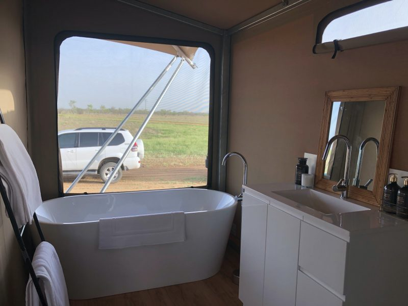 Luxury Glamping Tent Bathroom, Mitchell Grass Retreat, Longreach, Outback Queensland