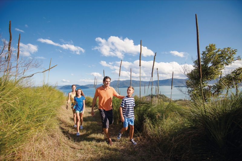 Family on island walking track.