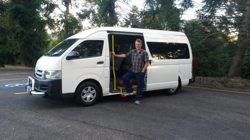 Val with tour van
