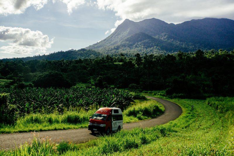 Van driving near Mt. Bartle Frere