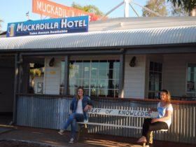 Sitting outside the great Muckadilla Hotel