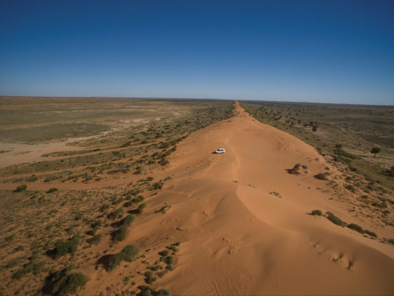 Vehcile n immense sand dune, Simpson Desert