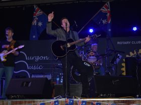 Adam Harvey performing at the 2018 Murgon Music Muster