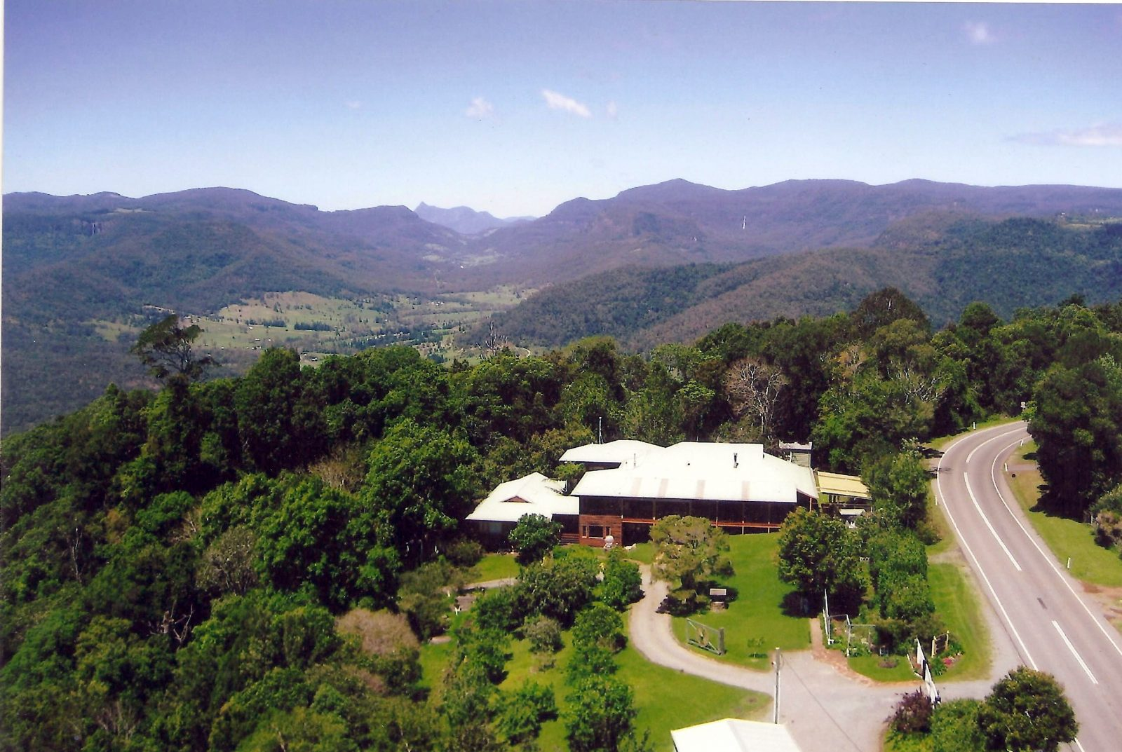 Aerial View of Mystery Mountain house looking south to Mount Warning volcano