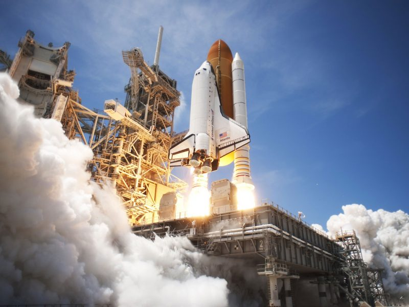 Space Shuttle Atlantis lifts off from Launch Pad 39A in Cape Canaveral