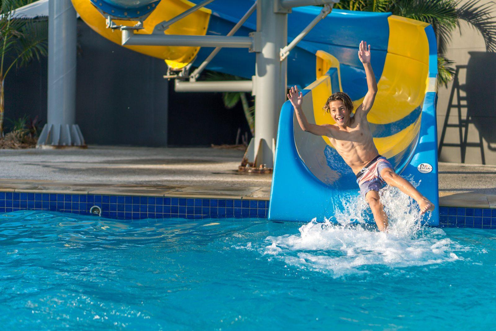 Pool with 35 metre mega water slide