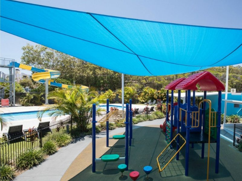 Undercover Playground and heated pool with 35 metre water slide