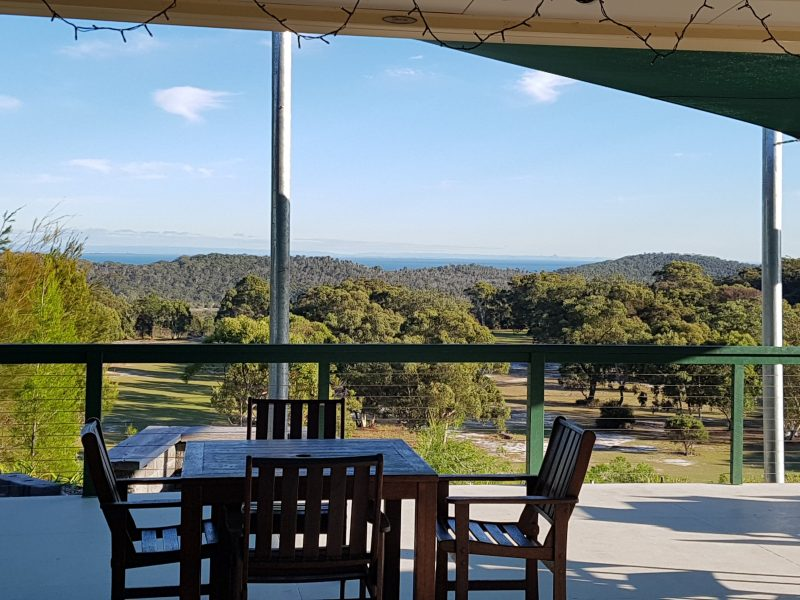 Sit back and enjoy the view across Moreton Bay to teh Glasshouse Mountains