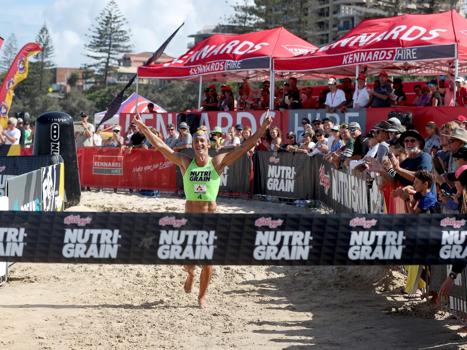 Ali Day claiming the Nutri-Grain Ironman victory last summer.