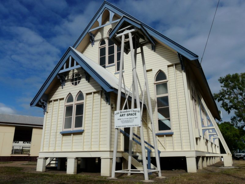 Formerly St Patrick's Catholic Church, the Old Brandon Church is listed on the Registers of both the National Estate and the National Trust of Queensland, and is now open as a gallery space by the Burdekin Artisans.