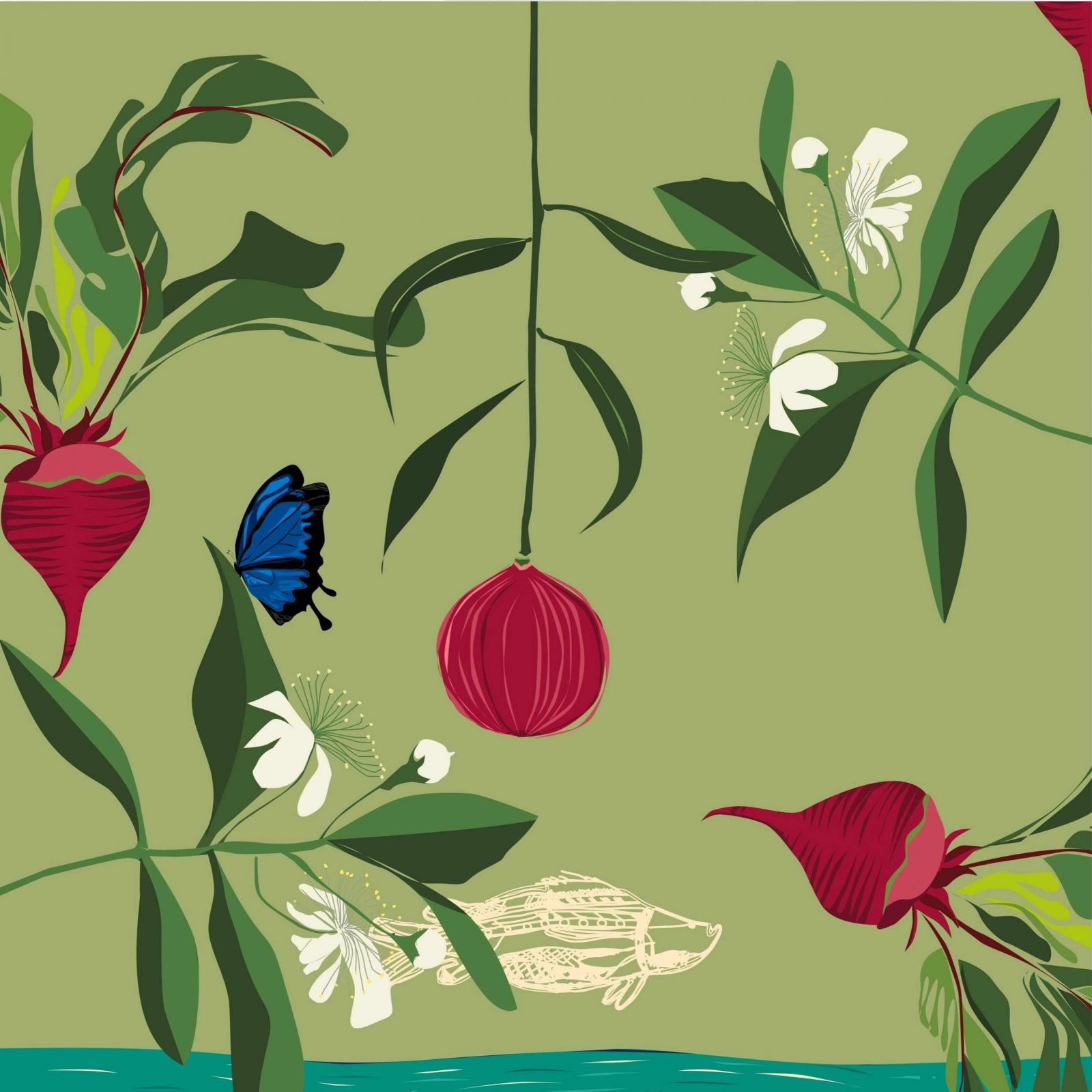 Green background with lemon myrtle, quandong, beetroot, Ulysses butterfly and a barramundi