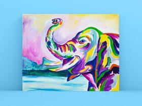 Paint and Sip Class - Rainbow Elephant