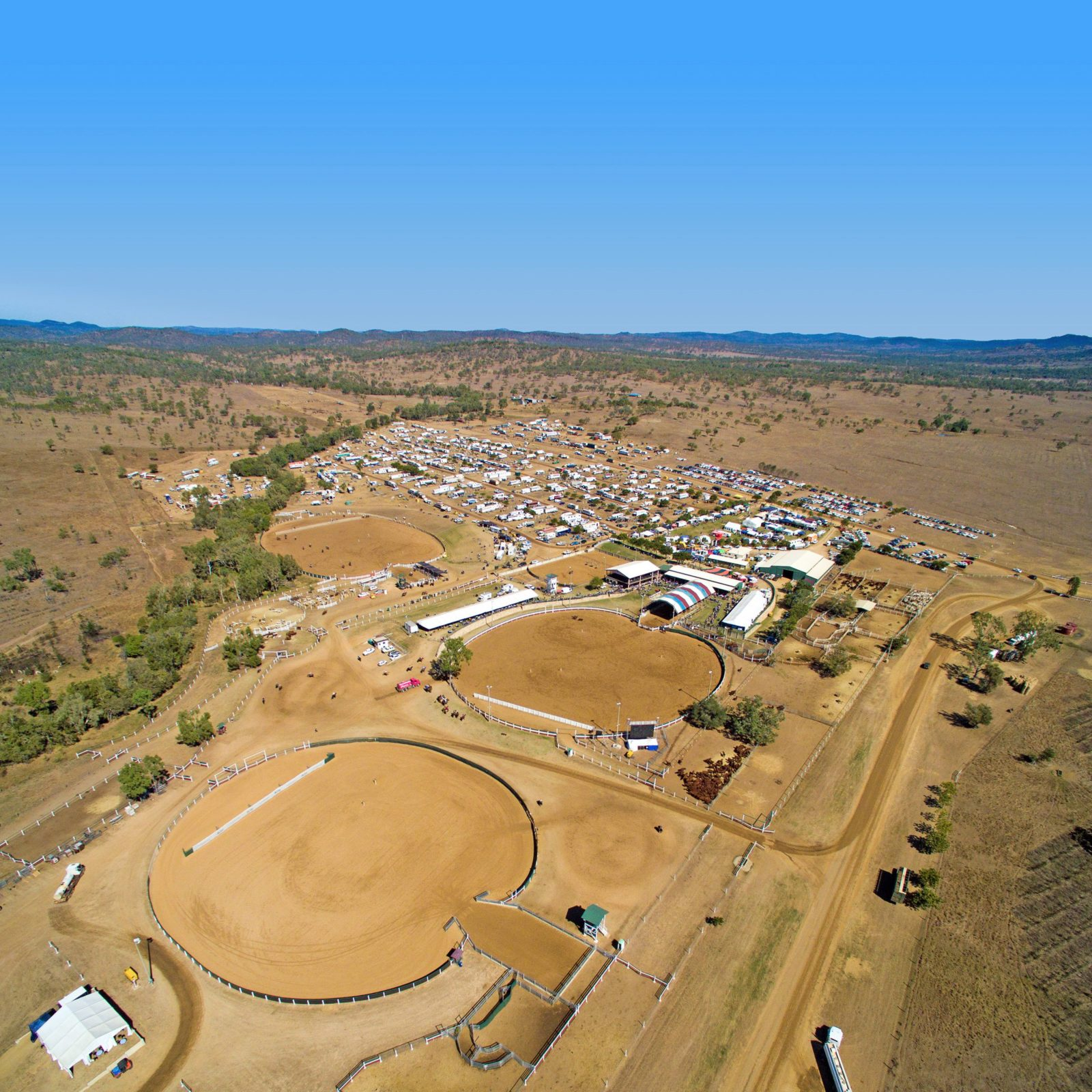 An aerial photo of the Paradise Lagoons Campdraft complex