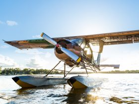 Paradise Seaplanes' Wilga 80 on the Maroochy River at the beautiful Sunshine Coast