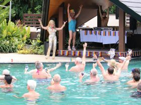 Millie Minogue performing at the Soaked Pool Party