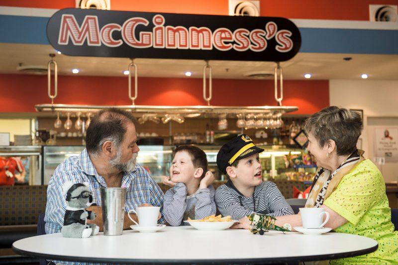 Enjoying a meal at McGinness Restaurant