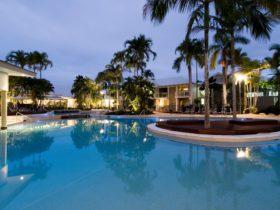 Lagoon Style pool at sunset