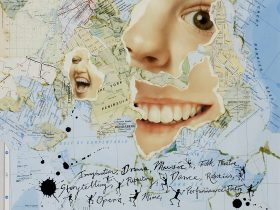 Collage image of Queensland map with face and writing