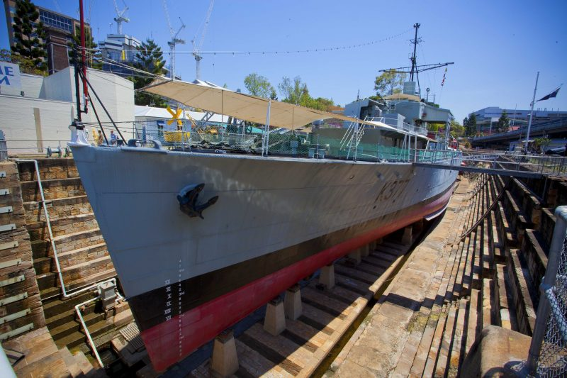WW2 frigate ex-HMAS Diamantina berthed in the heritage listed South Brisbane Dry Dock