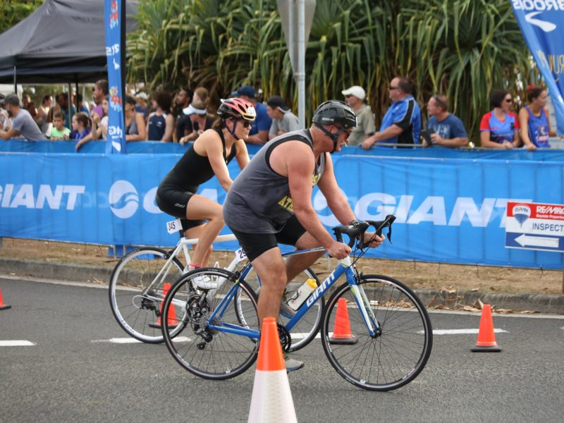 Cyclists participating together in the triathlon